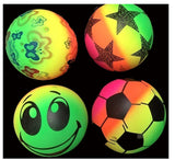 RAINBOW 7 INCH ASSORTED NOVELTY BALLS  (Sold by the dozen)