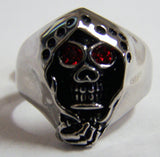 GRIM REAPER SKULL W CAPE RED EYES STAINLESS STEEL BIKER RING ( sold by the piece )