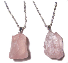 ROSE QUARTZ  ROUGH NATURAL MINERAL STONE 18 IN SILVER LINK CHAIN NECKLACE (sold by the piece or dozen )