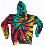 RASTA SPIDER TIE DYED HOODIE (sold by the piece ) *-CLOSEOUT $ 12.50 EA -SIZE XXXL