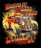 DRIVE IT LIKE YOU STOLE IT VINTAGE CAR  BLACK SHORT SLEEVE TEE-SHIRT (Sold by the piece)
