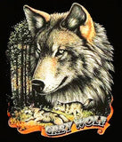 GREY WOLF HEAD RUNNING WOLVES SHORT SLEEVE TEE-SHIRT (Sold by the piece)  *- CLOSEOUT AS LOW AS $ 2.50 EA