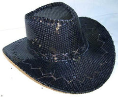 BLACK SEQUIN COWBOY HAT (Sold by the piece)