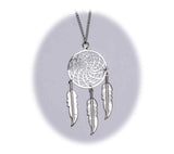 18 INCH METAL DREAM CATCHER SILVER NECKLACE WITH FEATHERS (SOLD BY THE PIECE)