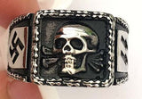 SKULL HEAD LIGHTNING BOLTS STAINLESS STEEL BIKER RING ( sold by the piece )