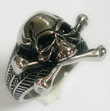 SKULL AND CROSS BONES STAINLESS STEEL BIKER RING ( sold by the piece )