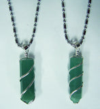 GREEN AVENTURINE COIL WRAPPED STONE STAINLESS STEEL BALL CHIAN NECKLACE (sold by the piece or dozen )
