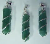 GREEN ADVENTURINE COIL WRAPPED POINT STONE PENDANT (sold by the piece or bag of 10 )