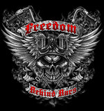 FREEDOM BEHIND BARS MOTORCYCLE SKULL WINGS SHORT SLEEVE TEE-SHIRT  (Sold by the piece) * CLOSEOUT $3.50 EA