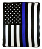 THIN BLUE LINE AMERICAN FLAG LARGE 50X60 IN PLUSH POLICE THROW BLANKET ( sold by the piece )