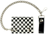 BLACK & WHITE CHECKERED TRIFOLD LEATHER WALLETS WITH CHAIN (Sold by the piece)