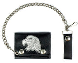 EAGLE HEAD  TRIFOLD LEATHER WALLETS WITH CHAIN (Sold by the piece)