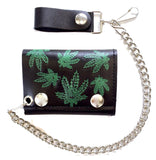 MULTIPLE POT LEAVES TRIFOLD LEATHER WALLETS WITH CHAIN (Sold by the piece)