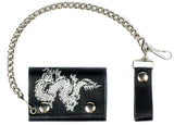 DRAGON TRIFOLD LEATHER WALLETS WITH CHAIN (Sold by the piece)