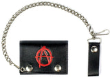 ANARCHY SYMBOL TRIFOLD LEATHER WALLETS WITH CHAIN (Sold by the piece)
