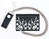 CHECKERED FLAG W FLAMES TRIFOLD LEATHER WALLETS WITH CHAIN (Sold by the piece)