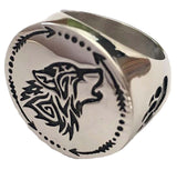 HOWLING WOLF W PAW / DREAMCATCHER STAINLESS STEEL BIKER RING ( sold by the piece )