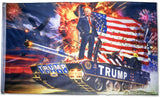 DONALD TRUMP TANK FIREWORKS 3 X 5 AMERICAN FLAG ( sold by the piece )
