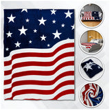 AMERICAN FLAG USA LARGE 50X60 IN PLUSH THROW BLANKET ( sold by the piece )