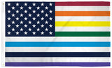 AMERICAN OLD GLORY RAINBOW PRIDE  3 X 5 FLAG ( sold by the piece )