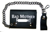 BAD MOTHER F TRIFOLD LEATHER WALLET WITH CHAIN (Sold by the piece)