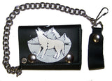 HOWLING WOLF TRIFOLD LEATHER WALLET WITH CHAIN (Sold by the piece)