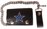 BLUE NAUTICAL STAR TRIFOLD LEATHER WALLETS WITH CHAIN (Sold by the piece)