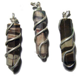 AFRICAN ZEBRA COIL WRAPPED POINT STONE PENDANT (sold by the piece or bag of 10 )