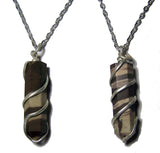 AFRICAN ZEBRA WRAPPED STONE 18 INCH SILVER CHIAN NECKLACE (sold by the piece or dozen )