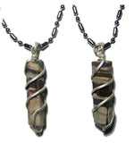 AFRICAN ZEBRA COIL WRAPPED STONE STAINLESS STEEL BALL CHIAN NECKLACE (sold by the piece or dozen )