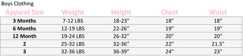 Boys Size chart strasburg Children