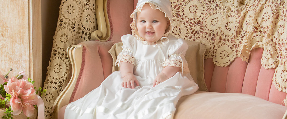 Heirloom Christening Gowns, baby Baptism Dress for girls boys smocked