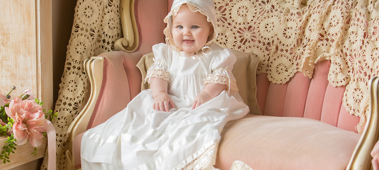 Infant Christening Gown with heirloom machine embroidery Made to Order