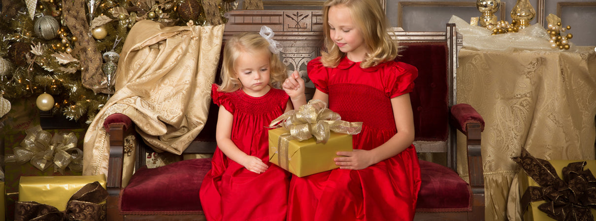 Christmas Dreses for Little Girls Red Smocked Dress