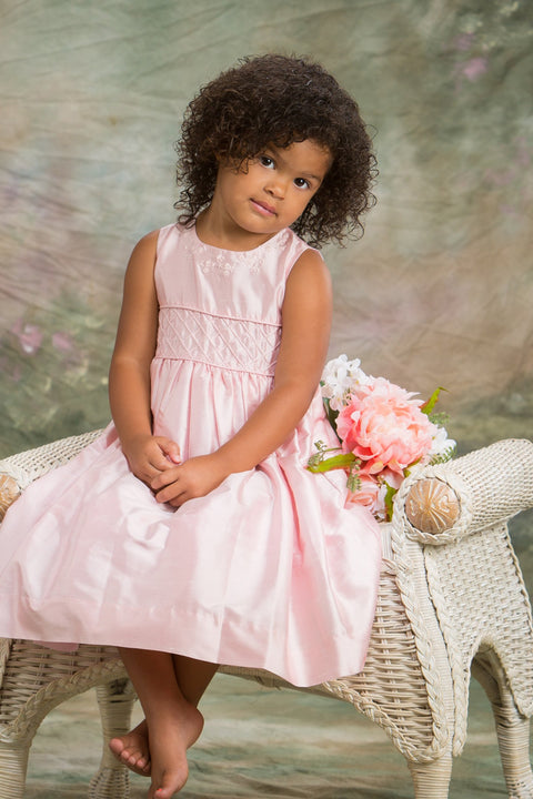 Alice - Pink Silk Dress Strasburg Children