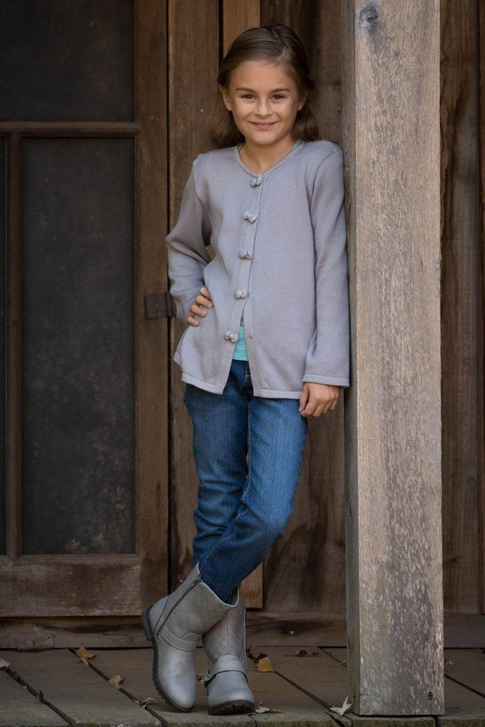 Girls Grey Cardigan Sweater Strasburg Children