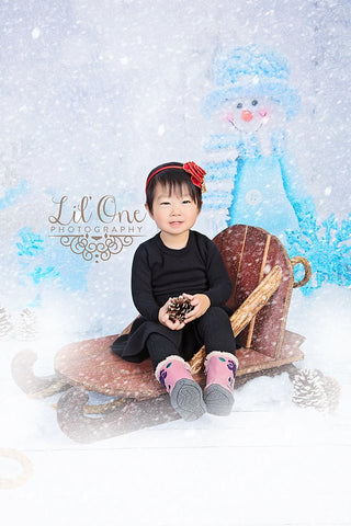 Blue Snowman - Backdrop Shop