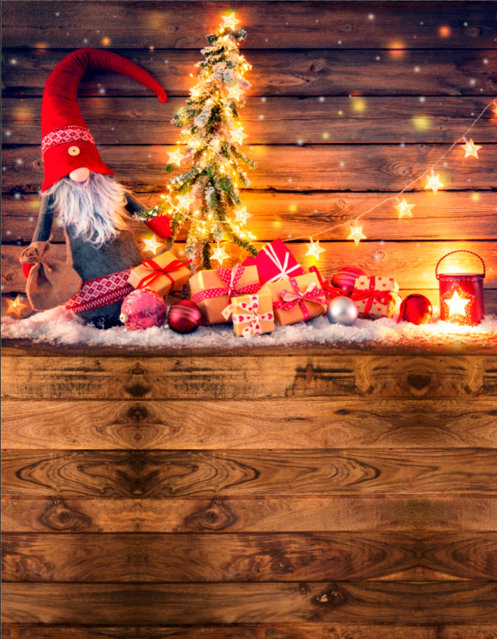 Santa Claus, Dwarf & Lights On Rustic Wood-all in one - Backdrop Shop