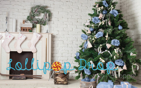 Blue Christmas Living Room - Backdrop Shop