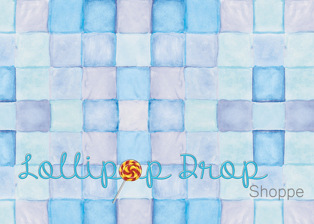 Blue Pastel Squares - Backdrop Shop