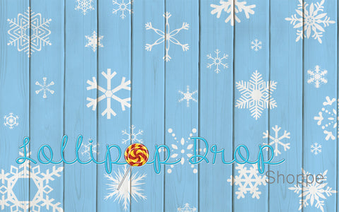 Blue Snowflake Planks - Backdrop Shop