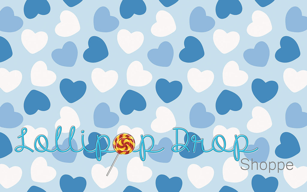 Blue Valentine Hearts - Backdrop Shop