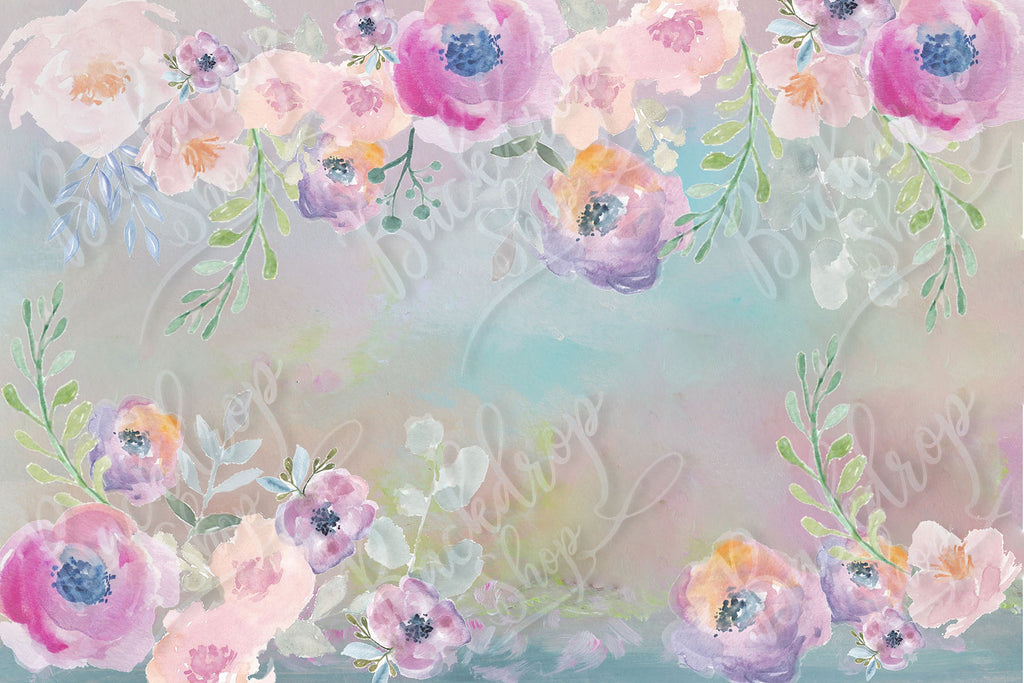 Painted Floral Border - Backdrop Shop
