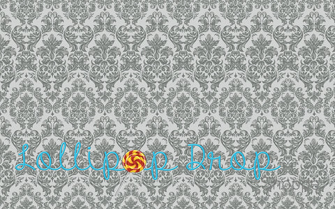 Grey Damask - Backdrop Shop