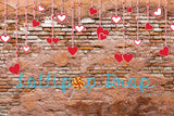 Red Hanging Hearts - Backdrop Shop
