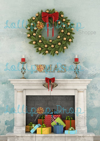 Marbled Xmas Fireplace-Portrait