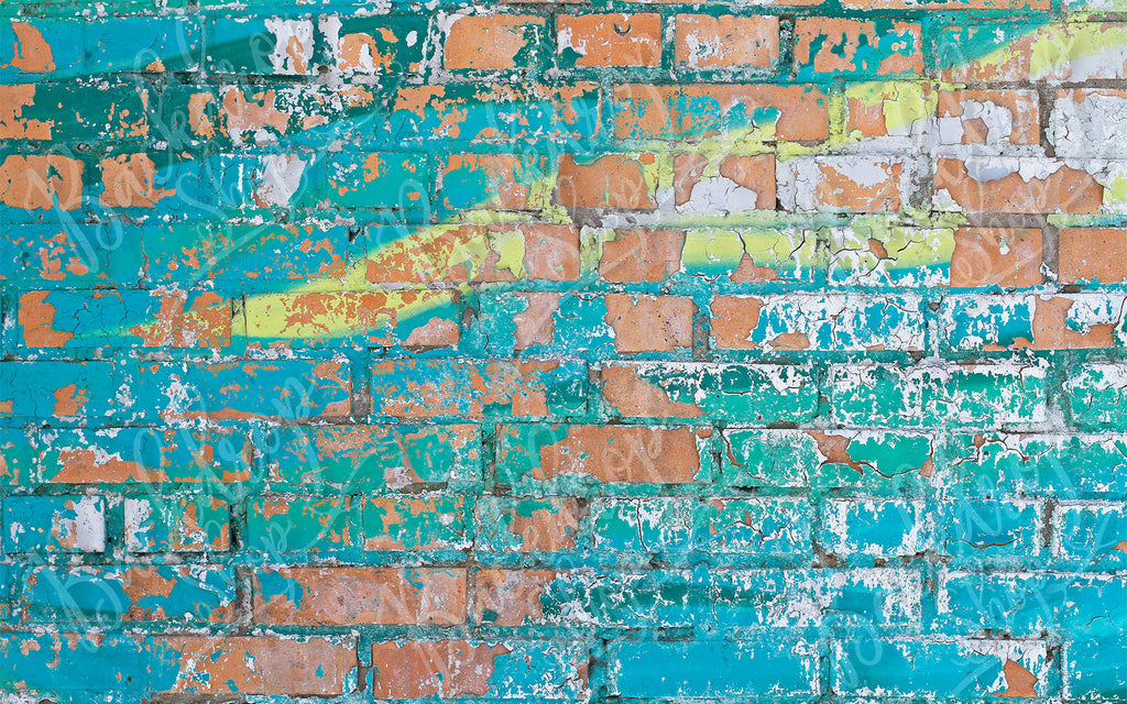 Painted Blue Brick - Backdrop Shop