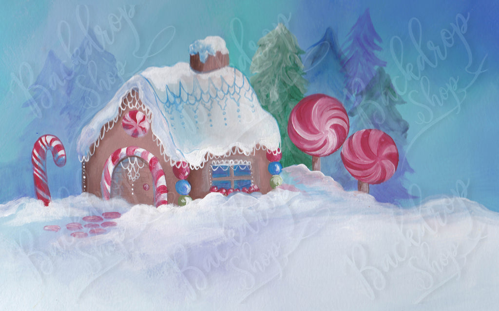 Painted Gingerbread House - Backdrop Shop