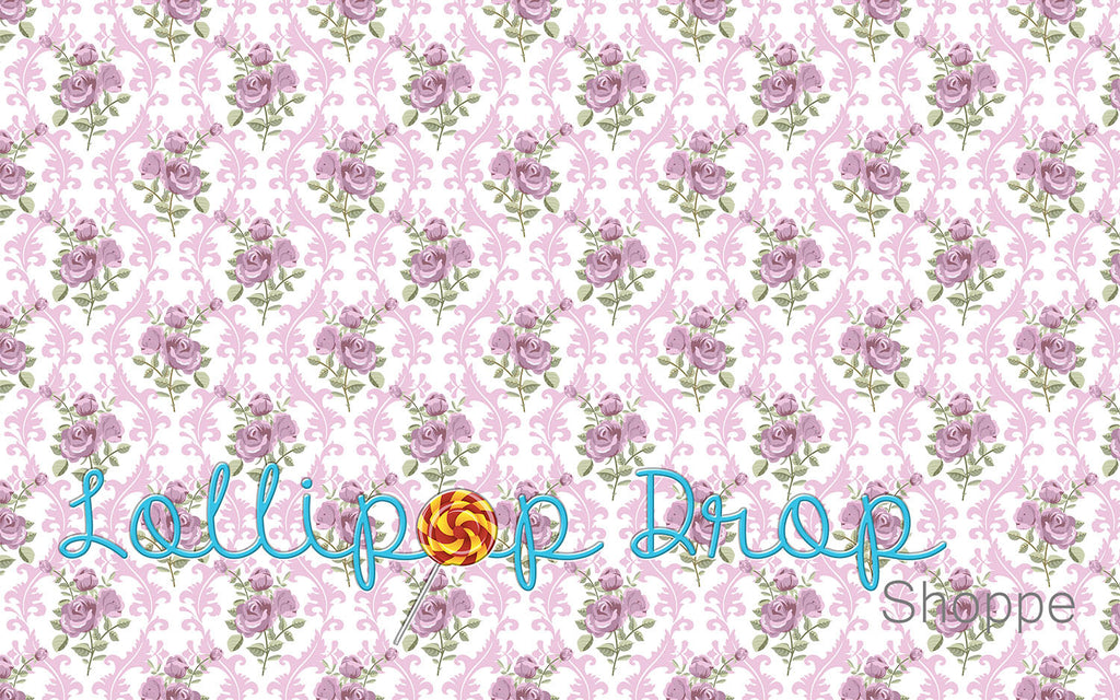Purple Rose Damask - Backdrop Shop
