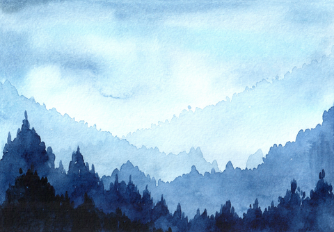Blue Watercolour Mountain - Backdrop Shop